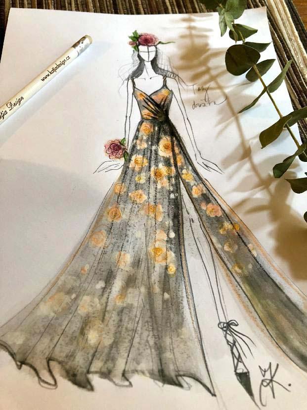 Návrh dražebních šatů<br>z hedvábného saténu s motivem květinového potisku na show Flower feelings