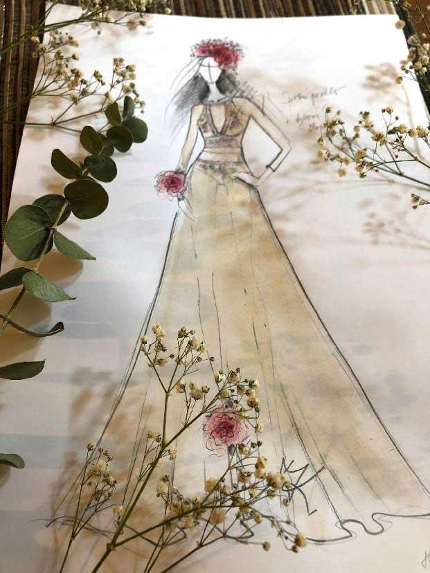 ylová slupka šatů z dvojitého tylu dvou barev