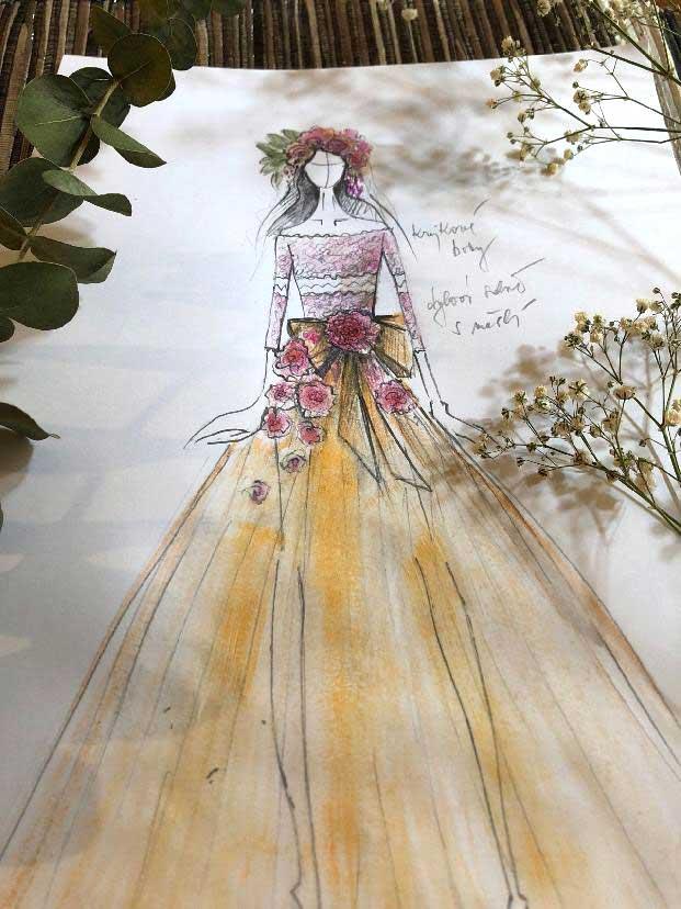 Návrh krajkového živůtku s třívrstvou tylovou sukní, květinové ozdoby