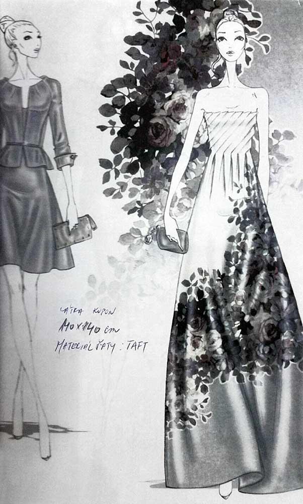 Společenské šaty<br> hedvábný taft<br> látka Valentino