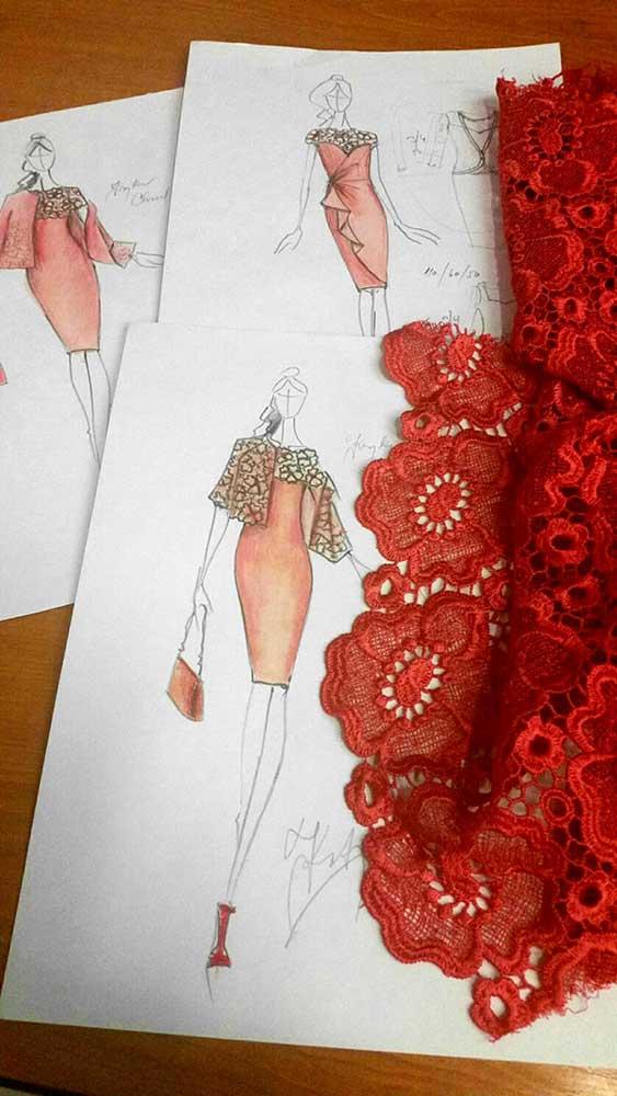 Pouzdrové šaty s kabátkem + varianty<br> krajka macramé Chanel