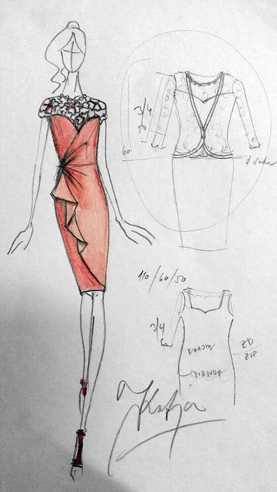 Pouzdrové šaty s krajkou a efektním asymetrickým řasením a volánem<br> krajka macramé Chanel