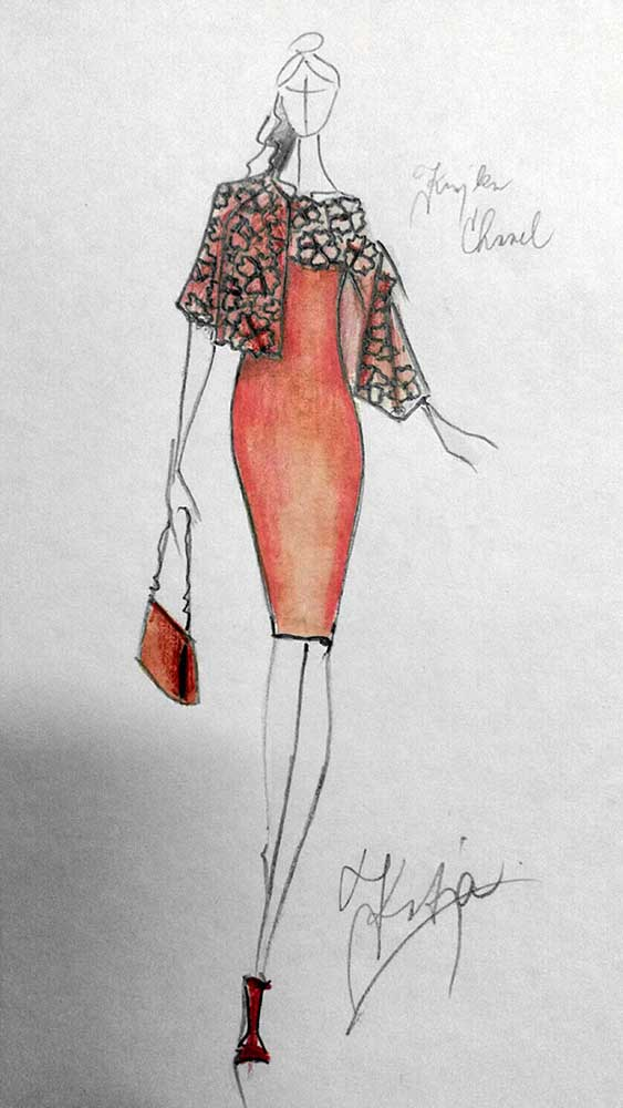 Pouzdrové šaty s krajkou a kabátkem<br> krajka macramé Chanel