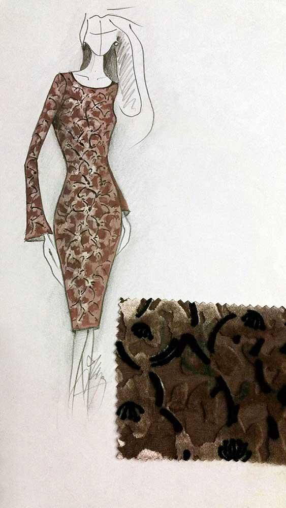 Společenské pouzdrové šaty<br> hedvábný vypalovaný samet