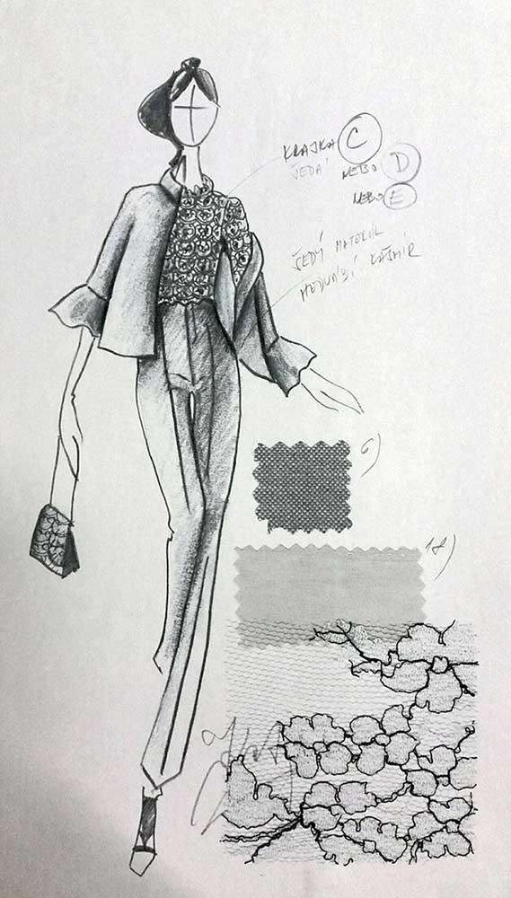 Kalhotový kostým<br> materiál - hedvábí, kašmír<br> krajka Valentino