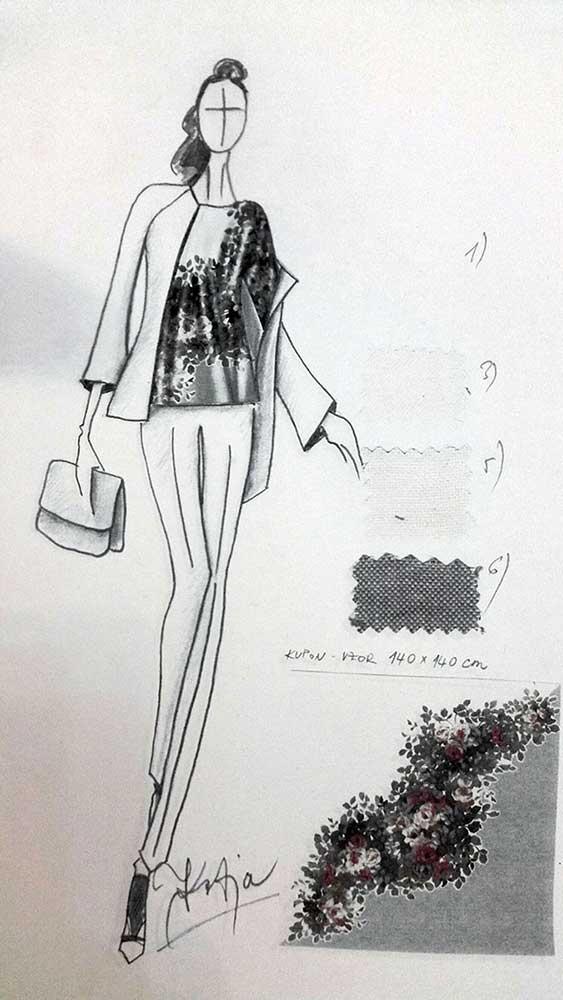 Kalhotový kostým<br> materiál - hedvábí, kašmír, hedvábný satén<br> látka Valentino