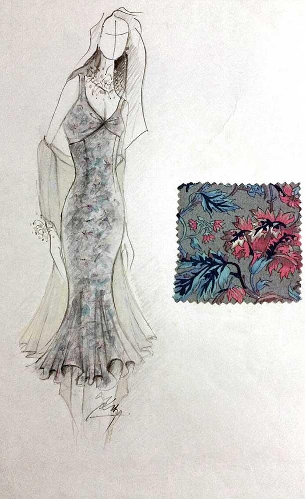 Letní šaty<br> hedvábný krepdešín<br> látka Blumarine