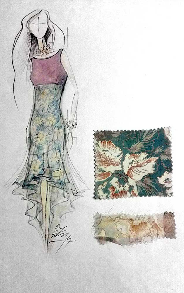Letní šaty<br> hedvábný krepdešín, voile<br> látka Blumarine