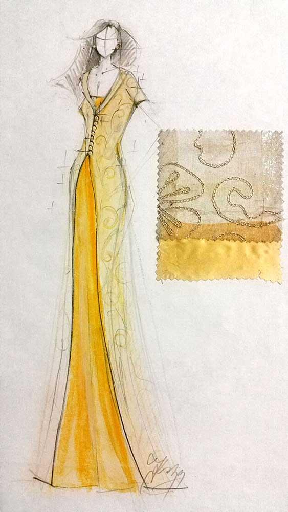 Společenské šaty<br> hedvábný satén, vyšívaná hedvábná organza