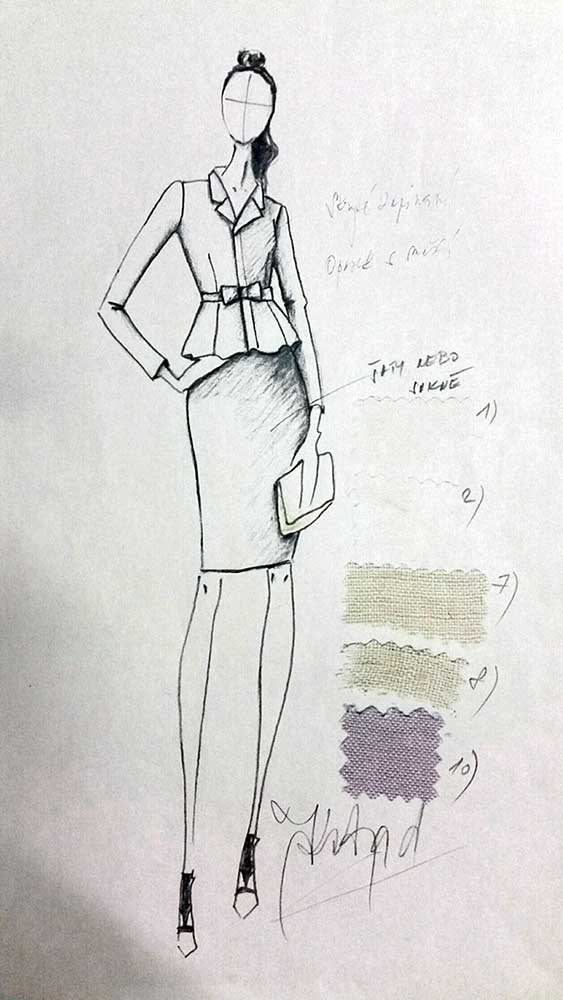Pouzdrové šaty s kabátkem<br> hedvábný buret<br> látka Valentino
