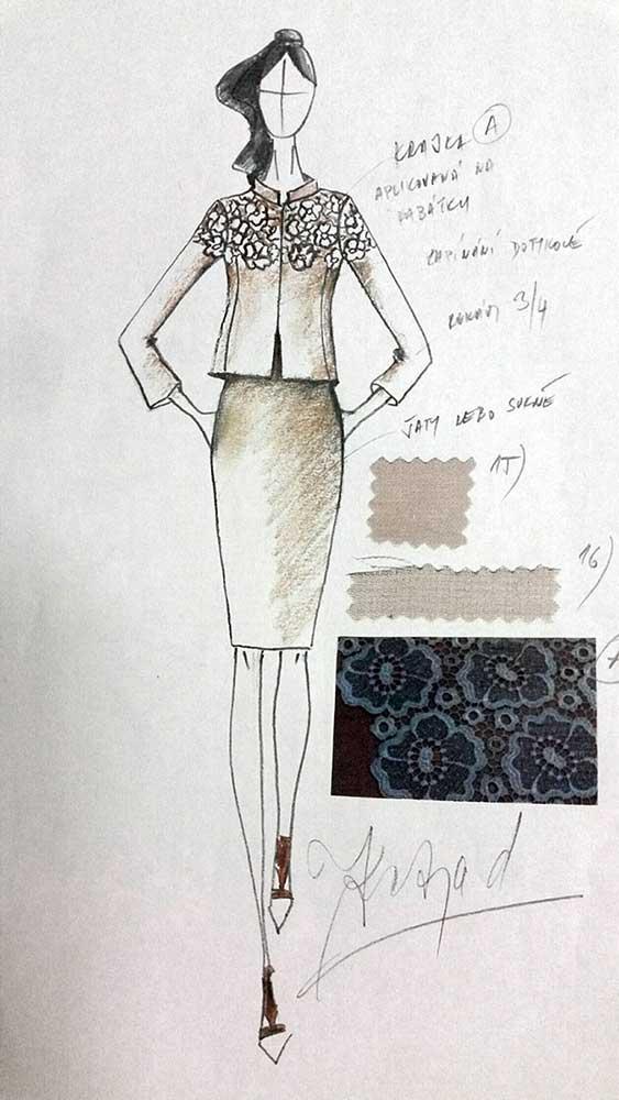 Pouzdrové šaty s kabátkem<br> hedvábný žoržet<br> krajka Chanel