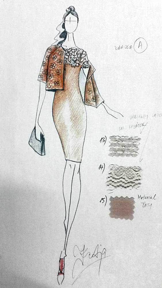 Pouzdrové šaty s kabátkem<br> hedvábný žoržet<br> krajka Chanel, žakár Emanuel Ungaro