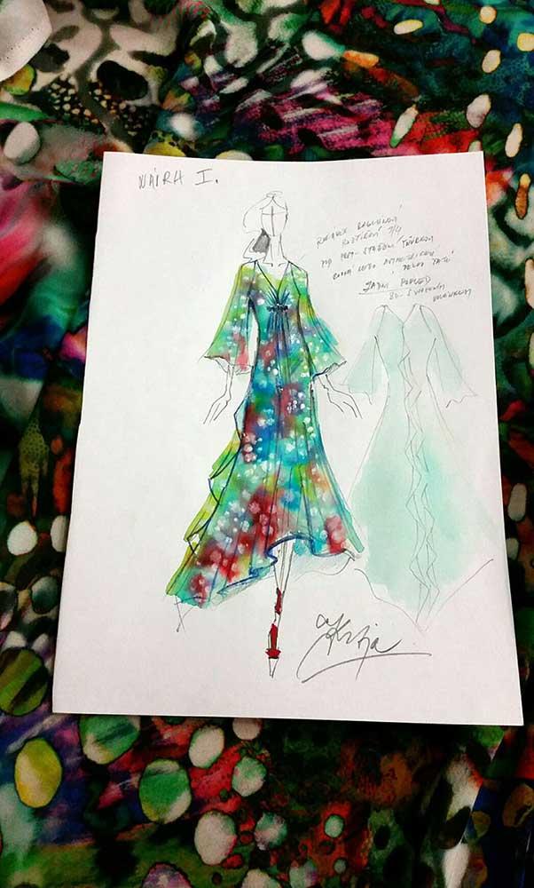 Letní šaty<br> látka Emanuel Ungaro